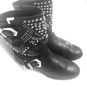 Embellished Black Leather Short Boots